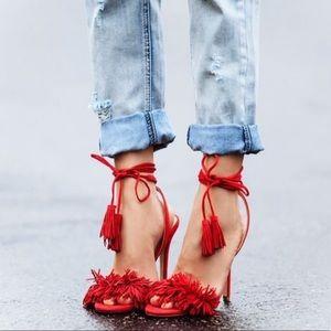 Ivanka Trump Red Fringe Sandals
